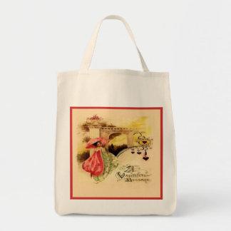 Vintage Valentine Message Pink Parasol Reusable Grocery Tote Bag