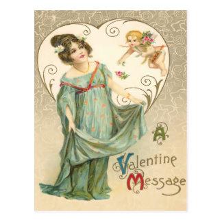 Vintage Valentine Message Postcard