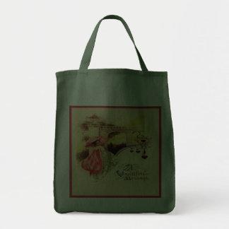 Vintage Valentine Pink Parasol Green Reusable Tote Bags
