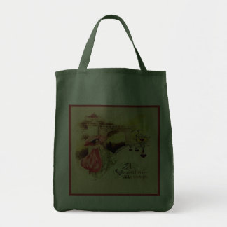 Vintage Valentine Pink Parasol Green Reusable Tote Bags