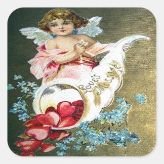 Vintage Valentine Postcard Square Sticker