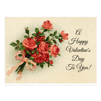 Vintage Valentine Roses Postcard