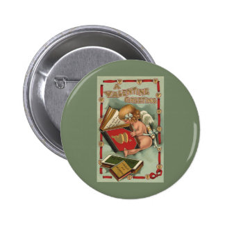 Vintage Valentine s Day Angel Cupid Reading Book Pin