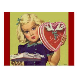 Vintage Valentine s Day Blonde Girl w Chocolates Postcards