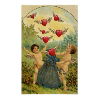 Vintage Valentine s Day Victorian Angels Hearts Print