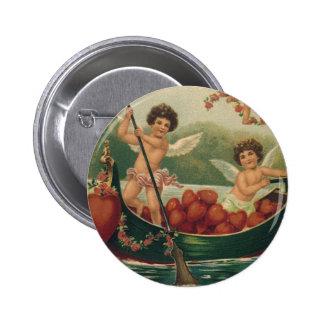 Vintage Valentine s Day Victorian Cupids in Boat Pinback Button