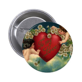 Vintage Valentine s Day Victorian Cupids on Clouds Buttons