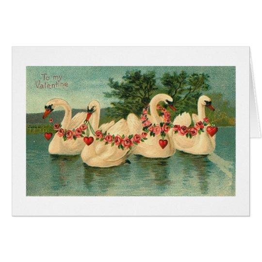 Vintage Valentine Swans Card