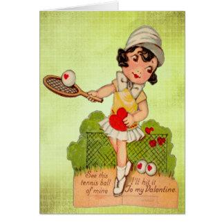 Vintage Valentine Tennis Sweetheart Card