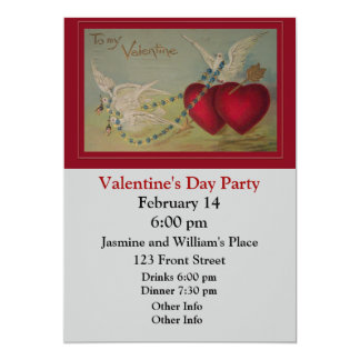 "Vintage Valentine with Hearts and Doves 5"" X 7"" Invitation Card"