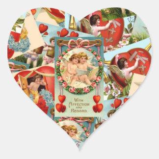 Vintage Valentines collage Heart Sticker