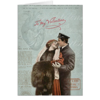 Vintage Valentine's Day Couple Love Heart Collage Card