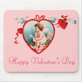 Vintage Valentine's Day Cupid Mouse Pad