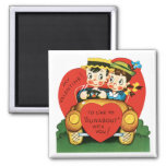 Vintage Valentine's Day, Cute Boy and Girl in Car Square Magnet