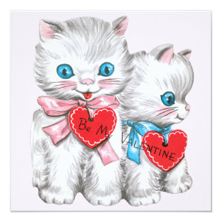 "Vintage Valentine's Day, Cute Fluffy Kitten Cats 5.25"" Square Invitation Card"