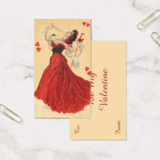 Vintage Valentine's Day, Dancing Lady Red Hearts Business Card