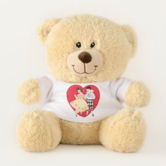 Vintage Valentine's Day, Girl, Harlequin and Heart Teddy Bear