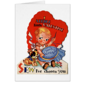Vintage Valentine's Day Girl Sewing Greeting Card