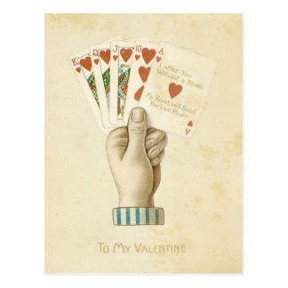 Vintage Valentine's Day Poker Hand Red Hearts Love Postcard