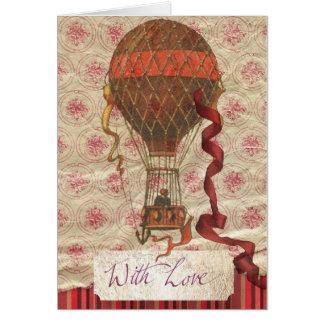 Vintage Valentine's Day Romantic Balloon Card