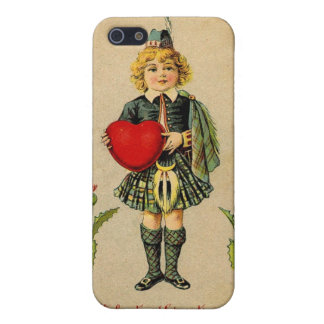 Vintage valentines day Scottish boy and heart iPhone 5/5S Cases