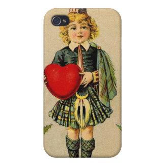 Vintage valentines day Scottish boy & heart iPhone 4 Case