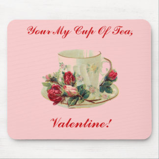 Vintage Valentine's Day Tea Cup Mouse Pad