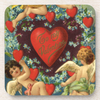 Vintage Valentine's Day, Victorian Angels Hearts Coasters