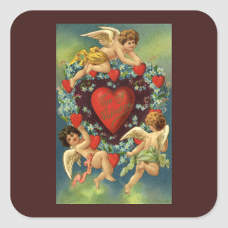 Vintage Valentine's Day, Victorian Angels Hearts Square Sticker