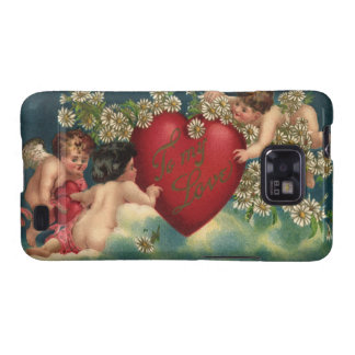 Vintage Valentines Day Victorian Cherubs on Clouds Samsung Galaxy SII Covers
