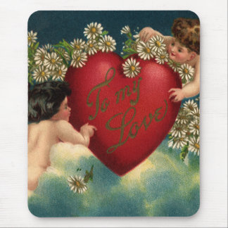 Vintage Valentines Day Victorian Cherubs on Clouds Mouse Pads