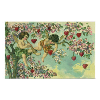 Vintage Valentines Day Victorian Cupids Heart Tree Poster
