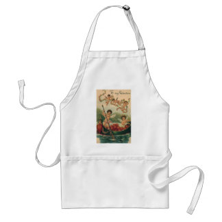 Vintage Valentine's Day, Victorian Cupids in Boat Apron