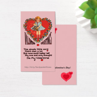 Vintage Valentines Heart Wreath & Girl Vert Cards