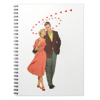 Vintage Valentines Lovers with Floating Hearts Note Book