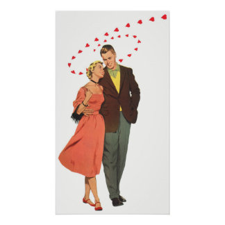 Vintage Valentines Lovers with Floating Hearts Poster