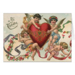 Vintage Valentines, Victorian Cupids Angels Heart Greeting Card