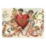 Vintage Valentines, Victorian Cupids Angels Heart Custom Announcement