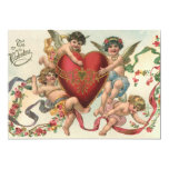 Vintage Valentines, Victorian Cupids Angels Heart Custom Announcement