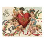Vintage Valentines, Victorian Cupids Angels Heart Postcard