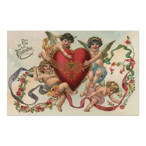 Vintage Valentines, Victorian Cupids Angels Heart Poster