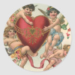 Vintage Valentines, Victorian Cupids Angels Heart Sticker