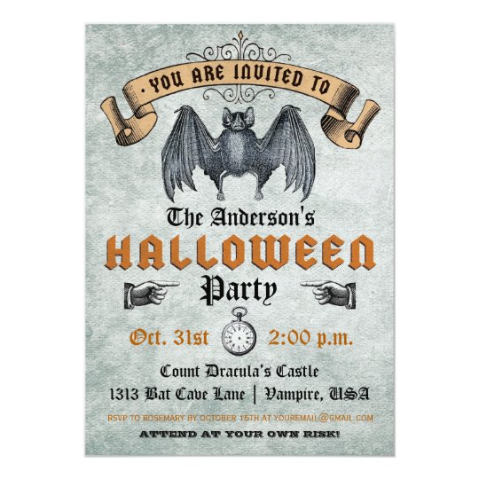 Vintage Vampire Bat Halloween Invitation