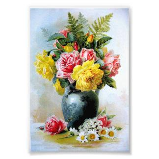 Vintage Vase of Roses Photo