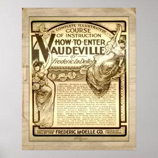 Vintage Vaudeville Instruction Course Advertising Poster
