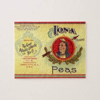 Vintage Vegetable Can Label Art, Iona Brand Peas Jigsaw Puzzle