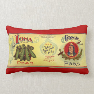 Vintage Vegetable Can Label Art, Iona Brand Peas Lumbar Cushion
