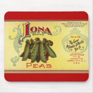 Vintage Vegetable Can Label Art,Iona Brand Peas Mouse Pad