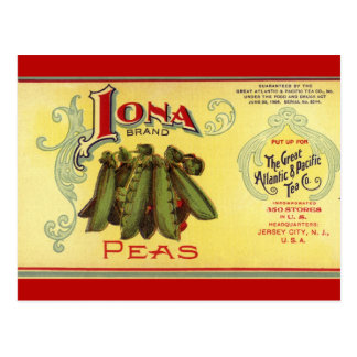 Vintage Vegetable Can Label Art, Iona Brand Peas Postcard