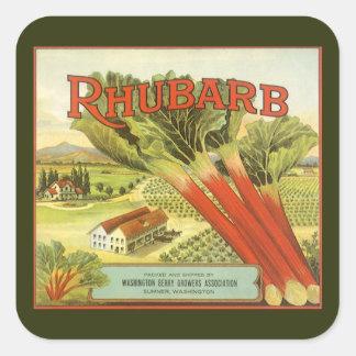 Vintage Vegetable Can Label Art, Rhubarb Farm Square Sticker